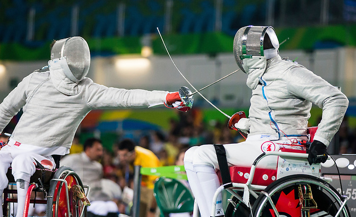 RIO DE JANEIRO - 12/9/2016:  Pierre Mainville, of Saint-Jerome, QC, competes in the men's individual sabre fencing preliminaries at Carioca 3 Arena during the Rio 2016 Paralympic Games. (Photo by Dave Holland/Canadian Paralympic Committee).  Aurelie took the silver medal.