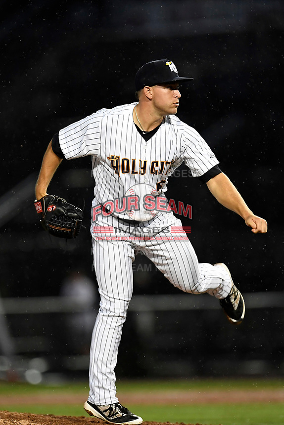 Trevor Lane (5) of the Charleston RiverDogs with the North team pitches during the South Atlantic League All-Star Game on Tuesday, June 20, 2017, at Spirit Communications Park in Columbia, South Carolina. The game was suspended due to rain after seven innings tied, 3-3. (Tom Priddy/Four Seam Images)