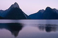 Mitre peak reflection in the waters of Milford Sound, New Zealand