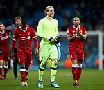 Liverpool's Loris Karius celebrates at the final whistle during the Champions League Quarter Final 2nd Leg match at the Etihad Stadium, Manchester. Picture date: 10th April 2018. Picture credit should read: David Klein/Sportimage