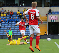 Fleetwood Town's Ched Evans scores his side's first goal  <br /> <br /> Photographer David Shipman/CameraSport<br /> <br /> The EFL Sky Bet League One - Oxford United v Fleetwood Town - Saturday August 11th 2018 - Kassam Stadium - Oxford<br /> <br /> World Copyright &copy; 2018 CameraSport. All rights reserved. 43 Linden Ave. Countesthorpe. Leicester. England. LE8 5PG - Tel: +44 (0) 116 277 4147 - admin@camerasport.com - www.camerasport.com