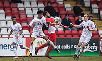 Nabil Alioui of AS Monaco FC Youth holds off Brooklyn Lyons-Foster of Spurs U19 during the UEFA Youth League round of 16 match between Tottenham Hotspur U19 and Monaco at Lamex Stadium, Stevenage, England on 21 February 2018. Photo by Andy Rowland.