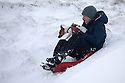13/01/17<br />  <br /> Mark Beresford sledges in deep snow with his dog Ruby near the Cat and Fiddle between Macclesfield and Buxton in the Peak District.<br /> <br /> <br /> All Rights Reserved F Stop Press Ltd. (0)1773 550665   www.fstoppress.com