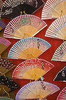 Kyoto City, Japan<br /> Street near Kiyomizu Temple, painted Japanese fans for sale