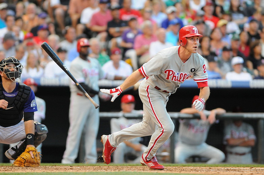 01 AUGUST 2011:  Philadelphia Phillies second baseman Chase Utley (26)   during a regular season game between the Philadelphia Phillies and the Colorado Rockies at Coors Field in Denver, Colorado. The Phillies beat the Rockies 4-3 in 10 innings. *****For Editorial Use Only*****