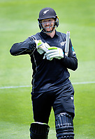 Martin Guptill walks off after his dismissal during the One Day International cricket match between the NZ Black Caps and Pakistan at the Basin Reserve in Wellington, New Zealand on Saturday, 6 January 2018. Photo: Dave Lintott / lintottphoto.co.nz