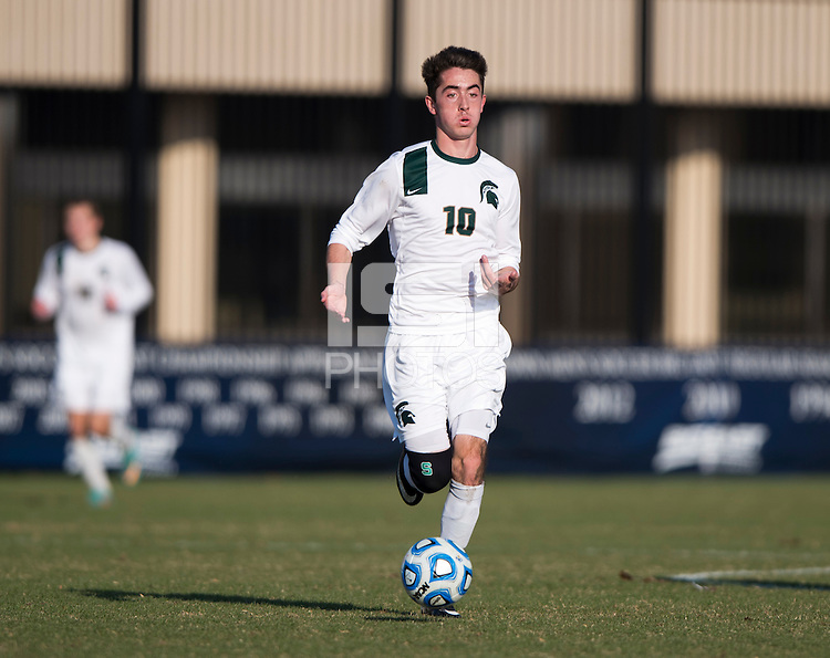 Jay Chapman (10) of Michigan State brings the ball forward during the third round of the NCAA tournament at Shaw Field in Washington, DC. Michigan State defeated Georgetown, 1-0.