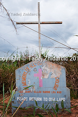War memorial for victims killed during the Lord's Resistance Army (LRA) insurgency; Acholibur Village, Acholibur Sub-county, Pader District.