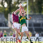 Kerry's Roibeard Ó SÉ and Galway's Micheal Daly in action during the Kerry V Galway Under 21 Football Championship semi final at Cusack Park, Ennis on Sunday. Photograph by Eamon Ward