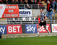 GOAL - Grimsby Town's Scott Vernon wheels away after scoring during the Sky Bet League 2 match between Leyton Orient and Grimsby Town at the Matchroom Stadium, London, England on 11 March 2017. Photo by Carlton Myrie / PRiME Media Images.
