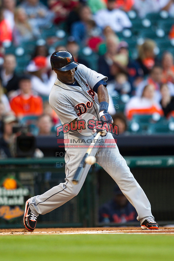 Detroit Tigers outfielder Torii Hunter (48) swings during the MLB baseball game against the Houston Astros on May 3, 2013 at Minute Maid Park in Houston, Texas. Detroit defeated Houston 4-3. (Andrew Woolley/Four Seam Images).