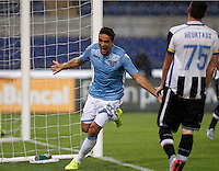 Calcio, Serie A: Lazio vs Udinese. Roma, stadio Olimpico, 13 settembre 2015.<br /> Lazio&rsquo;s Alessandro Matri, left, celebrates after scoring during the Italian Serie A football match between Lazio and Udinese at Rome's Olympic stadium, 13 September 2015.<br /> UPDATE IMAGES PRESS/Isabella Bonotto