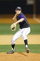High Point Panthers relief pitcher Sean Barry (17) in action against the Wake Forest Demon Deacons at Wake Forest Baseball Park on April 2, 2014 in Winston-Salem, North Carolina.  The Demon Deacons defeated the Panthers 10-6.  (Brian Westerholt/Four Seam Images)