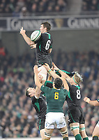 10.11.2012. Dublin, Ireland. Peter O'Mahony, Ireland, fails to catch a line out throw during the Guiness Series 2012 Rugby match between Ireland and South Africa from the Aviva Stadium