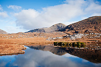 Small tarn with mountain reflection, Isle of Harris, Outer Hebrides, Scotland