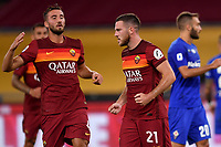 Jordan Veretout of AS Roma celebrates with Bryan Cristante after scoring on penalty the goal of 2-1 during the Serie A football match between AS Roma and ACF Fiorentina at stadio Olimpico in Roma (Italy), July 26th, 2020. Play resumes behind closed doors following the outbreak of the coronavirus disease. <br /> Photo Antonietta Baldassarre / Insidefoto