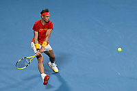10th January 2020; Sydney Olympic Park Tennis Centre, Sydney, New South Wales, Australia; ATP Cup Australia, Sydney, Day 8; Belgium versus Spain;David Goffin of Belgium versus Rafael Nadal of Spain; Rafael Nadal of Spain hits a backhand to David Goffin of Belgium - Editorial Use