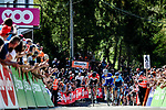 Julian Alaphilippe (FRA) Quick-Step Floors summits the brutal Mur de Huy with Alejandro Valverde (ESP) Movistar Team in 2nd place and Jelle Vanendert (BEL) Lotto Soudal in 3rd at the end of La Fleche Wallonne 2018 running 198.5km from Seraing to Huy, Belgium. 18/04/2018.<br /> Picture: ASO/Gautier Demouveaux | Cyclefile <br /> <br /> All photos usage must carry mandatory copyright credit (&copy; Cyclefile | ASO/Gautier Demouveaux)