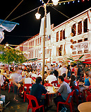 SINGAPORE, Chinatown, people sitting in outdoor restaurant and having food