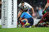 Nicolas Mas of France scores a try during Match 5 of the Rugby World Cup 2015 between France and Italy - 19/09/2015 - Twickenham Stadium, London <br /> Mandatory Credit: Rob Munro/Stewart Communications