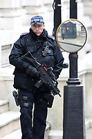 Armed police security in Downing Street. London England on February 05. 2018<br /> CAP/GOL<br /> &copy;GOL/Capital Pictures