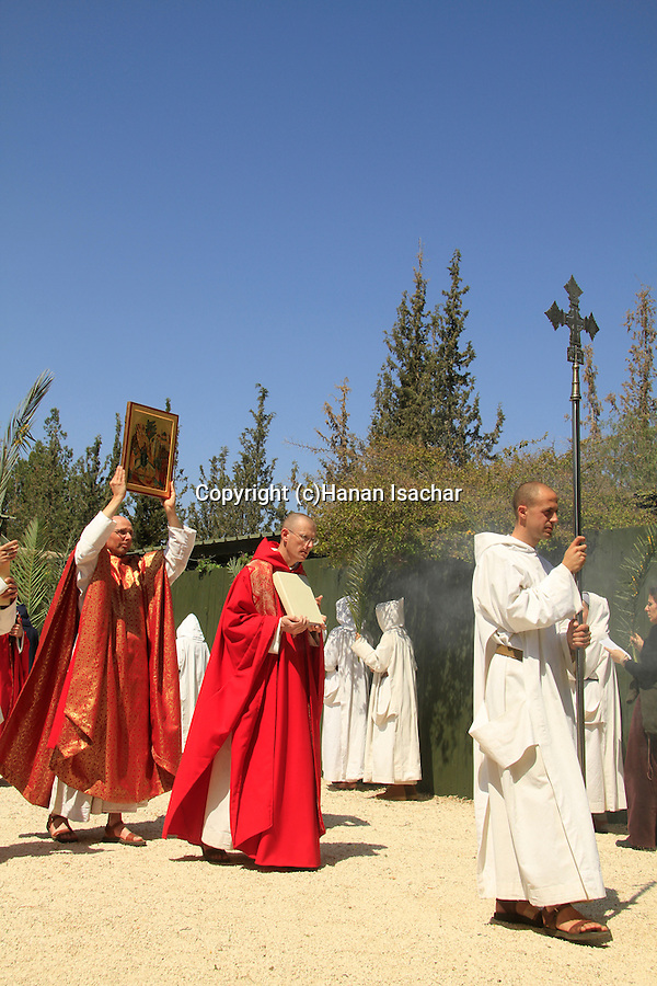 Easter, Le Dimanche des Rameaux (Palm Sunday) holiday at the Monastery of the Sisters of Bethlehem of the Assumption of the Virgin and of Saint Bruno in Bet Gemal, Israel