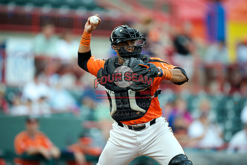 Erie Seawolves catcher Luis Alberto Sanz #49 during an Eastern League game against the New Hampshire Fisher Cats at Jerry Uht Park on August 9, 2012 in Erie, Pennsylvania.  Erie defeated New Hampshire 6-0.  (Mike Janes/Four Seam Images)