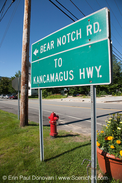 Bear Notch Road in Bartlett, New Hampshire USA. Bear Notch Road is a scenic byway. Much of the this road (on the Bartlett side) follows the old Bartlett and Albany Railroad. The Bartlett and Albany was a logging railroad in operation from 1887 - 1894