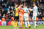 #17 Lucas Vazquez of Real Madrid (C) and #38 Borussia Dortmund Goalkeeper Roman Burki (C) interacts during the Europe Champions League 2017-18 match between Real Madrid and Borussia Dortmund at Santiago Bernabeu Stadium on 06 December 2017 in Madrid Spain. Photo by Diego Gonzalez / Power Sport Images