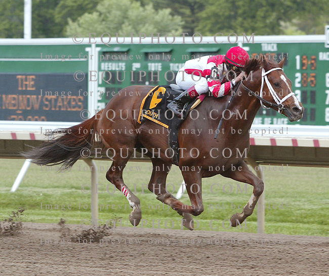 Solar Flare #6 with Gabriel Saez riding, Won the $70,000 Frisk Me Now Stakes at Monmouth Park in Oceanport, N.J.  Photo By Jessica Denver/EQUI-PHOTO