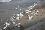 Foam salt spray on beach