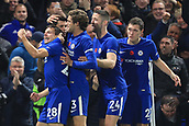 5th November 2017, Stamford Bridge, London, England; EPL Premier League football, Chelsea versus Manchester United; Alvaro Morata of Chelsea celebrates with team mates after scoring making it 1-0