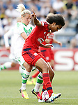 VfL Wolfsburg's Zsanett Jakabfi (l) and Olympique Lyonnais's Wendie Renard during UEFA Women's Champions League 2015/2016 Final match.May 26,2016. (ALTERPHOTOS/Acero)