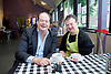 Stephen Hammond, Conservative candidate for Wimbledon and the former parliamentary under-secretary of State for Transport is on the general election campaign trail in Wimbledon today (Monday 15th May 2017). <br /> <br /> Visiting the Merton Mencap Caf&eacute;, open every Monday at Holy Trinity Church in The Broadway it offers a range of healthy home-made dishes &amp; is run by adults with a learning disability, supported by Merton Mencap staff and volunteers. <br /> <br /> Hammond who has an 11,408 majority (24.1%) met some of the workers who have learning disabilities including <br /> <br /> L to R: <br /> <br /> <br /> Stephen Hammond ; George Cary <br /> <br /> <br /> <br /> <br /> Photograph by Elliott Franks <br /> Image licensed to Elliott Franks Photography Services
