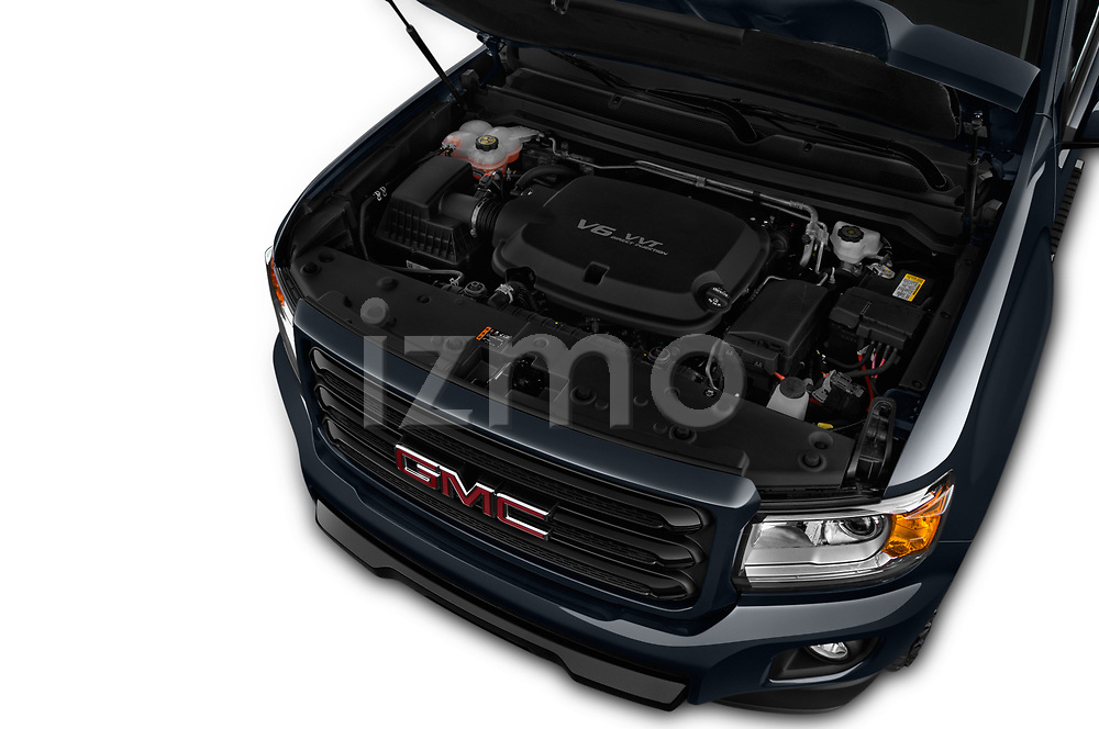 Car stock 2019 GMC Canyon Allterrain 4 Door Pick Up engine high angle detail view