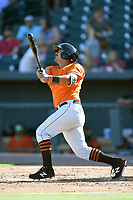 Third baseman Michael Bernal (12) of the Augusta GreenJackets bats in a game against the Columbia Fireflieon Sunday, July 30, 2017, at Spirit Communications Park in Columbia, South Carolina. Augusta won, 6-0. (Tom Priddy/Four Seam Images)