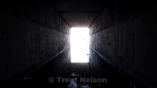 on an ride near the great salt lake. tunnel