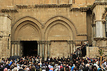 Israel, Jerusalem, Good Friday ceremony at the forcourt of the Church of the Holy Sepulchre