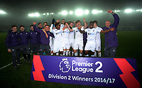 Pictured: Players and coaching staff celebrate at the end of the game Monday 13 March 2017<br /> Re: Premier League 2, Swansea City U23 v Wolverhampton Wanderers FC at the Liberty Stadium, Swansea, UK