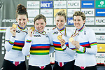 The team of USA with Kelly Catlin, Chloe Dygert, Kimberly Geist and Jennifer Valente celebrates winning the Women's Team Pursuit Finals as part of the Women's Team Pursuit Finals as part of the 2017 UCI Track Cycling World Championships on 13 April 2017, in Hong Kong Velodrome, Hong Kong, China. Photo by Marcio Rodrigo Machado / Power Sport Images