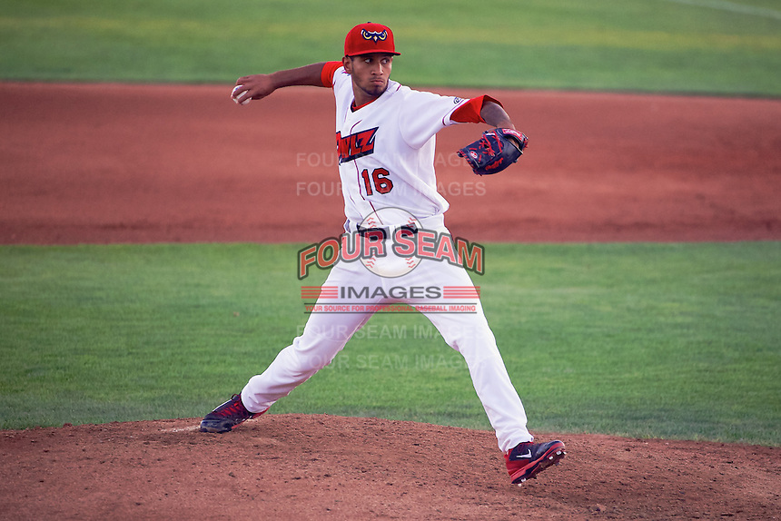 Keynan Middleton (16) of the Orem Owlz delivers a pitch to the plate against the Billings Mustangs in Pioneer League action at Home of the OWLZ on August 15, 2014 in Orem , Utah.  (Stephen Smith/Four Seam Images)