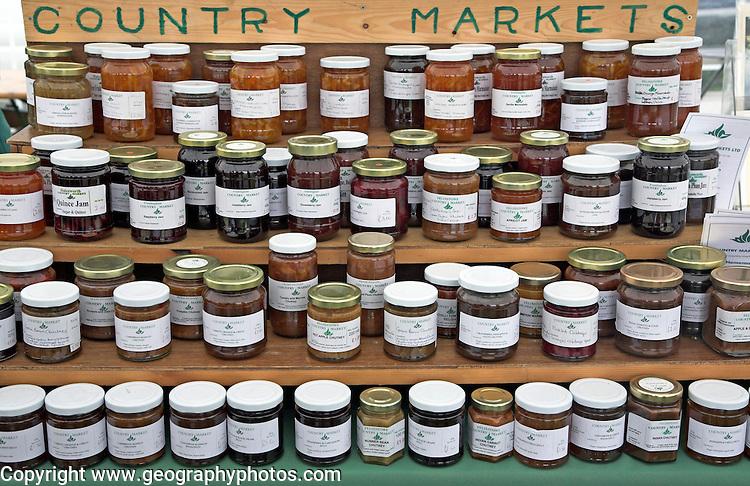 Marmalade and jam display, Suffolk Smallholders annual show, Stonham Barns, Suffolk, England, July 2008