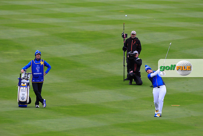 Caroline Hedwall (EUR) on the 1st fairway during Day 3 Singles at the Solheim Cup 2019, Gleneagles Golf CLub, Auchterarder, Perthshire, Scotland. 15/09/2019.<br /> Picture Thos Caffrey / Golffile.ie<br /> <br /> All photo usage must carry mandatory copyright credit (© Golffile | Thos Caffrey)