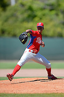 Philadelphia Phillies pitcher Angelo Almonte  during a minor league Spring Training game against the New York Yankees at Carpenter Complex on March 21, 2013 in Clearwater, Florida.  (Mike Janes/Four Seam Images)