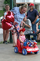 MEGAN DAVIS/MCDONALD COUNTY PRESS Carolina Lyster rolled into the Little Miss Strawberry pageant in style with bows, balloons and plenty of patriotism. Lyster was named the first runner-up in the 0-2 years division.