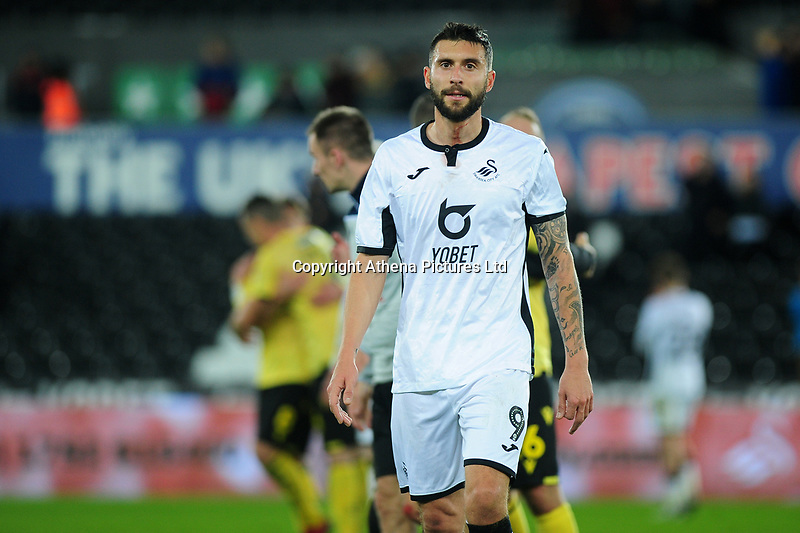 Borja Baston of Swansea City looks dejected during the Sky Bet Championship match between Swansea City and Millwall at the Liberty Stadium in Swansea, Wales, UK. Saturday 23rd November 2019