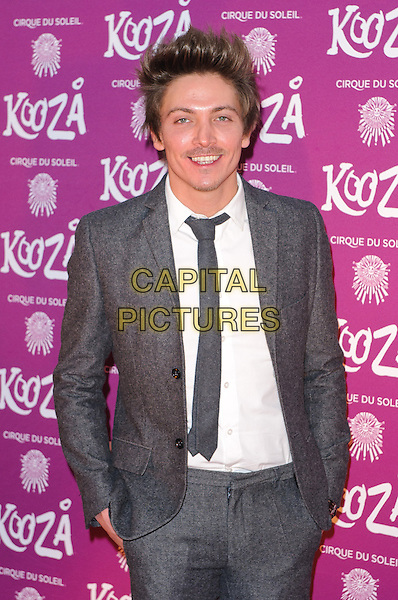 "Tyler James.VIP Night for Cirque du Soleil's new production, ""Kooza"" at the Royal Albert Hall, London, England..January 8th 2013.half length grey gray suit tie white shirt.CAP/CJ.©Chris Joseph/Capital Pictures."