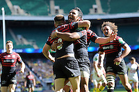 Owen Farrell of Saracens is congratulated by Billy Vunipola of Saracens after scoring a try during the Heineken Cup semi-final match between Saracens and ASM Clermont Auvergne at Twickenham Stadium on Saturday 26th April 2014 (Photo by Rob Munro)