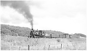 RGS #42 west of Hesperus with two gondolas, a caboose and a tender, the dismantler's train.<br /> RGS  Hesperus, CO  Taken by Richardson, Robert W. - 9/11/1952