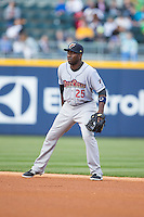 Scranton\Wilkes-Barre RailRiders second baseman Jose Pirela (25) on defense against the Charlotte Knights at BB&T BallPark on May 1, 2015 in Charlotte, North Carolina.  The RailRiders defeated the Knights 5-4.  (Brian Westerholt/Four Seam Images)
